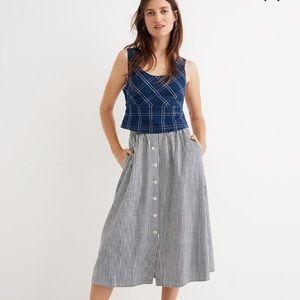 NWOT Madewell Palisade Stripe Button Midi Skirt